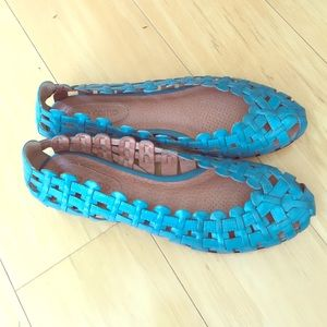 Corso Como Anthropologie woven flat in turquoise