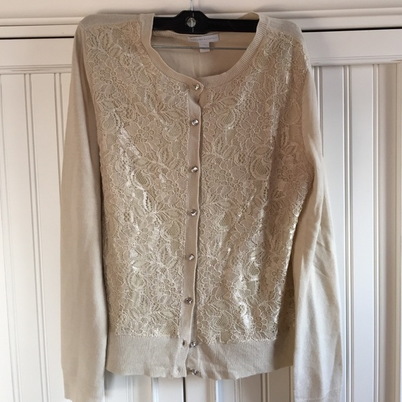 New York & Company - Champagne shimmer lace button up cardigan ...