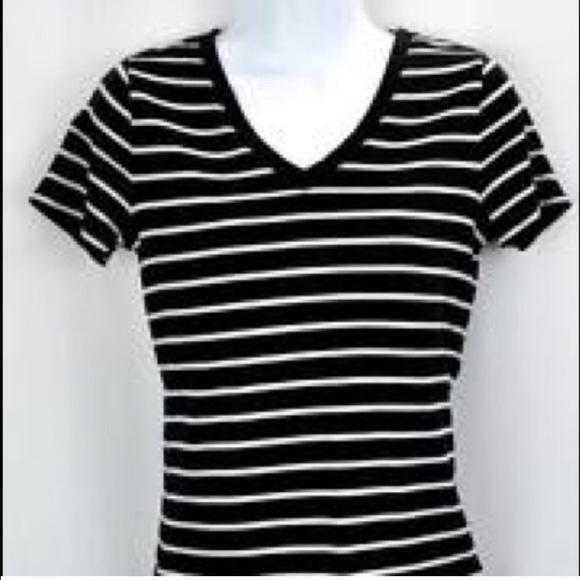 Merona Tops - Like New! Black/White Striped Tee