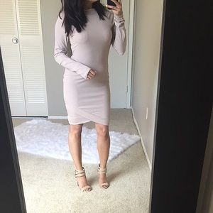 Dresses & Skirts - Closet Clear out💥 Nude boat neck ribbed dress