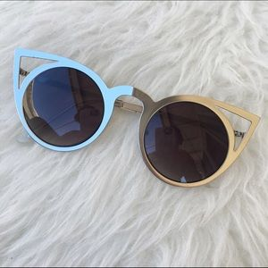 SILVER CAT EYED SUNNIES SHADES NEW SUNGLASSES