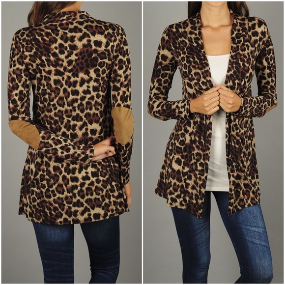 80fe88a377 Boutique Sweaters - Leopard Print Elbow Patch Cardigan