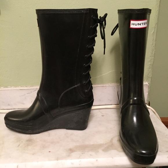 96d18af3e3c2 Hunter Shoes - Hunter Black Verbier Wedge Lace-Up Boots