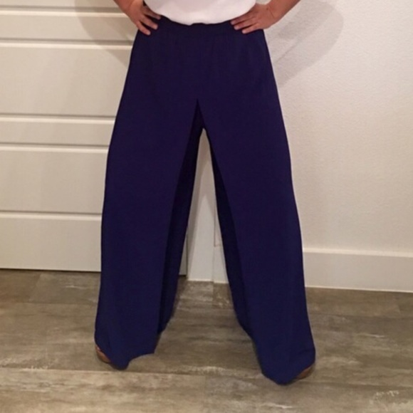86% off Pants - Royal blue high waisted wide leg pants from ...