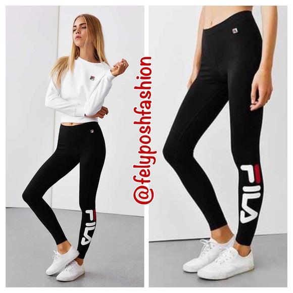 fila leggings. urban outfitters fila logo leggings t