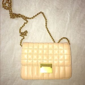 Jcrew tan leather clutch, quilted cross body