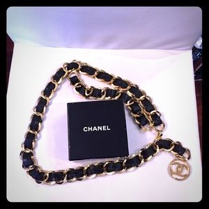 Authentic vintage Chanel Leather & Chain belt