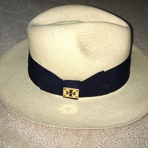 ea1285fded928 Tory Burch Accessories - Tory burch straw navy grosgrain ribbon hat fedora