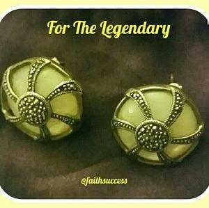 Vintage .925 Silver MOP Marcasite Earrings
