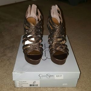 Jessica Simpson DK champagne heels