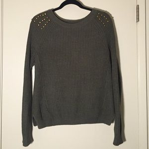 Express Sweaters - Express Army Green Studded Sweater