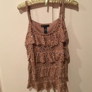 Gold sequin tank top
