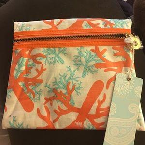 Mud Pie Handbags - Mud pie cosmetic zippered case in Summer Coral
