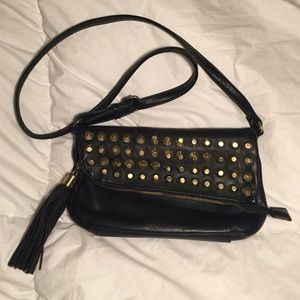 Handbags - Black Studded Crossbody Bag with Tassel