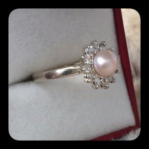 Sterling Silver Pink Pearl Ring