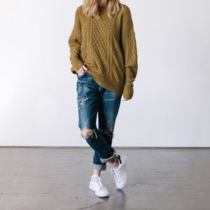 Callahan Sweaters - Callahan Olive Cable Sweater
