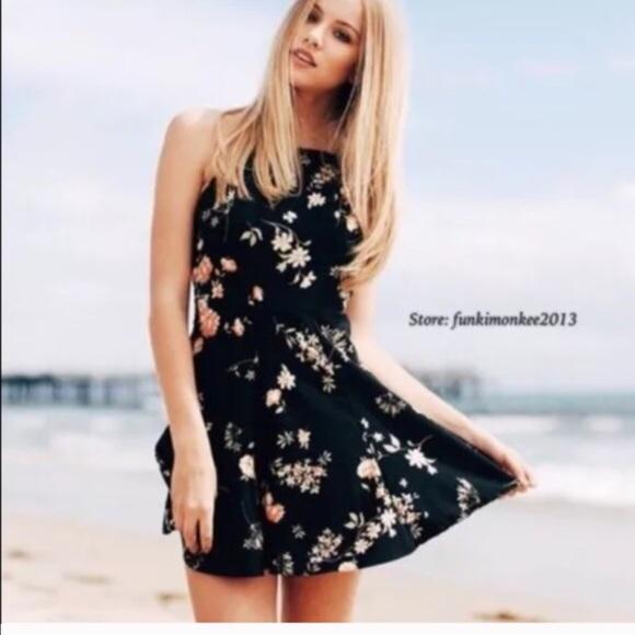 822140059f Brandy Melville black floral Kristen dress