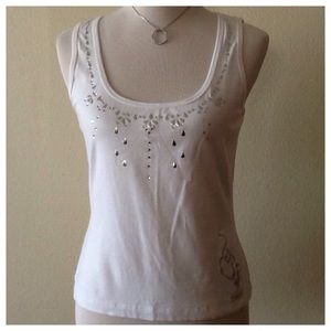 Baby Phat Tops - Baby Phat White Silver Studded Tank size L 🎀
