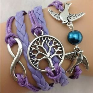 Jewelry - Purple bird tree of life infinity bracelet silver