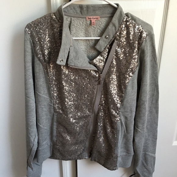 0351d32bb Juicy Couture Silver Gray Sequin Bomber Jacket