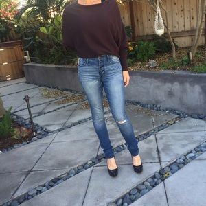Abercrombie mid rise washed skinny jeans