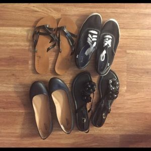 4 pairs of shoes.  Sandals/ sneakers