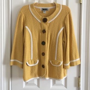 Beautiful Mustard Yellow Sweater w/ Funky Buttons