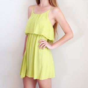 chartreuse flounce dress