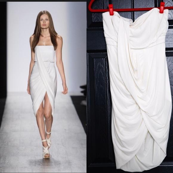 BCBGMaxAzria Dresses | Bcbg Runway Collection White Grecian Dress Sz ...