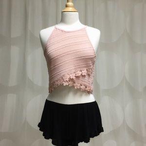 Pink crocheted crop top