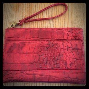 Buxton Handbags - Red Metallic Leather Pebbled Wristlet.