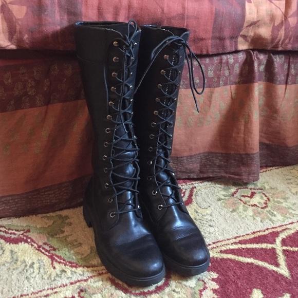 e546008d3330 Women s Timberland Lace-Up Tall Black Boots 9M. M 56e074492de512e1b904046a