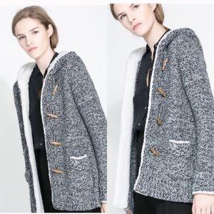 ▪️ZARA Grey Knit Hooded Jacket w/ Toggles▪️