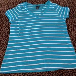 Turquoise and White Striped Tee