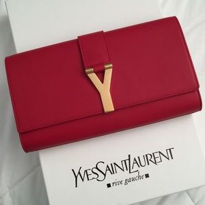 YSL Saint Laurent Y clutch red smooth leather