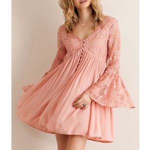LAST ONE Scheherazade Lace Bell Sleeve Mini Dress