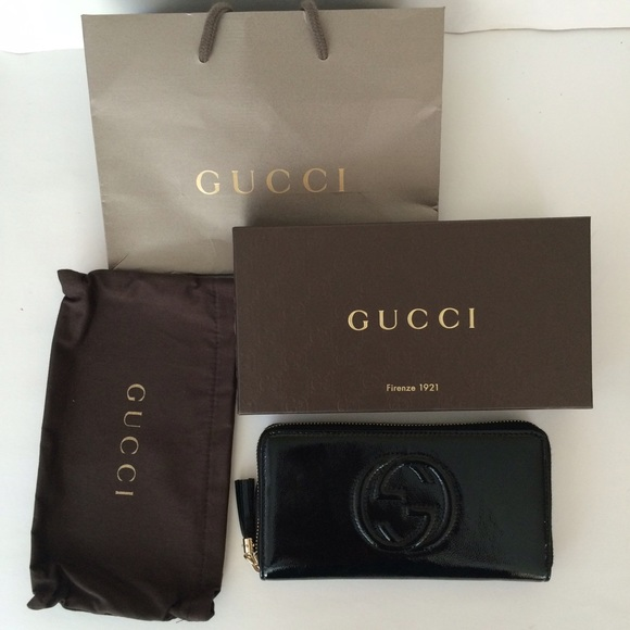 c9cdf9e3aa6 New Gucci Black Soho Patent Leather Wallet