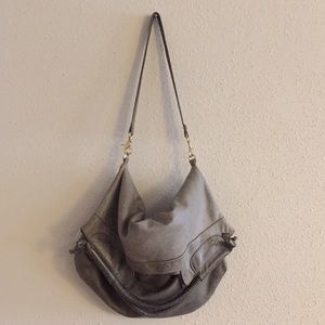Foley + Corinna Mid City Grey Pebbled Leather Bag