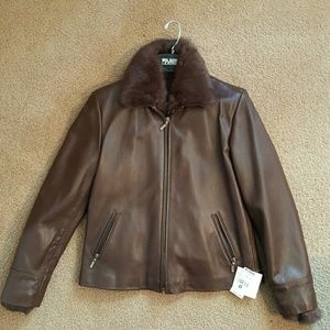 NWT Brown leather and real fur bomber jacket