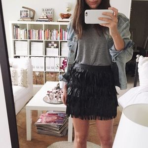 Zara Dresses & Skirts - ZARA Black Leather Fringe Mini Skirt