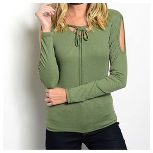Top Chic Tops - New -GREEN RIBBED TOP