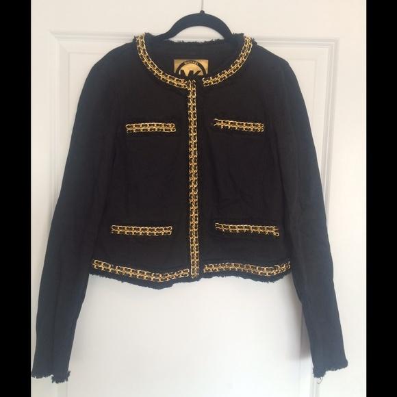 0507a566f MK black denim jacket with gold chain details