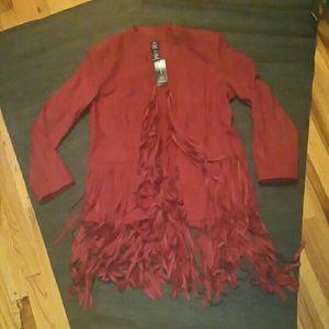 ❌SALE❌Faux Suede fringe jacket