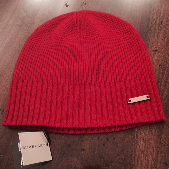 af60058d322 Burberry Red Cashmere Beanie Hat