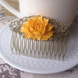 Abbie's Anchor Accessories - Mustard Yellow Rose Hair Comb💛