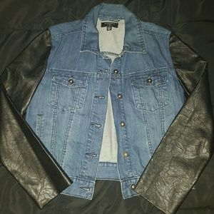 Denim leather sleeve jacket