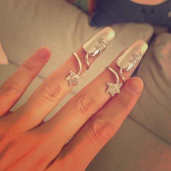 da028ce171776 925 Sterling Silver Fingernail Ring/Cocktail Ring