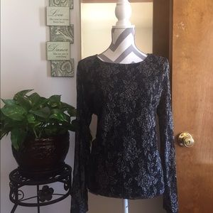 Tops - Black and Silver Formal Shimmer Top