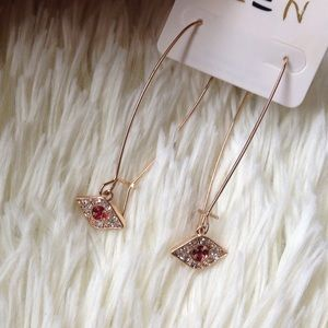Red evil eye earrings