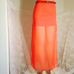 Dresses & Skirts - Long coral skirt with brown belt.  FINAL CLEARANCE